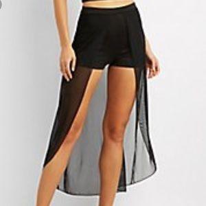 Charlotte Russe Layered Mesh Maxi Skirt Shorts